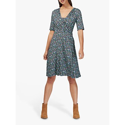 Brora Liberty Jersey Wrap Dress, Violet Daisy