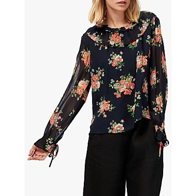 Brora Floral Silk Chiffon Ruffle Sleeve Blouse, Black/Multi