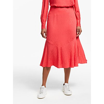 Collection WEEKEND by John Lewis Animal Jacquard Print Skirt, Red Pink