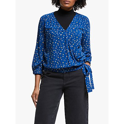 Collection WEEKEND by John Lewis Alexandra Floral Wrap Front Blouse, Blue/Multi