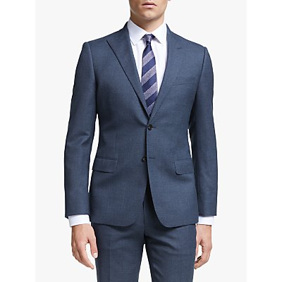 John Lewis & Partners Semi Plain Wool Slim Fit Suit Jacket, Navy