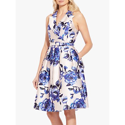 Adrianna Papell Geranium Print Waist Belt Dress, Blue/Multi