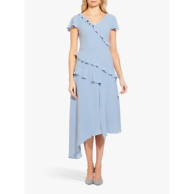 Adrianna Papell Gauzy Crepe Frill Detail Dress, Blue Mist