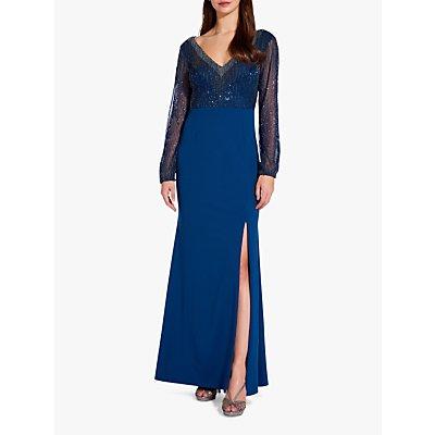 Adrianna Papell Blouson Side Split Maxi Dress, Deep Blue