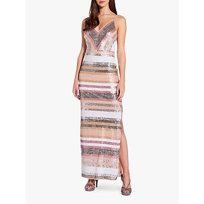 Adrianna Papell Sequin Stripe Spaghetti Strap Gown, Metallic Blush
