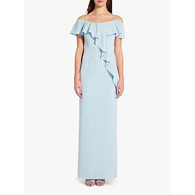 Adrianna Papell Flounce Crepe Bardot Dress, Aqua Dust