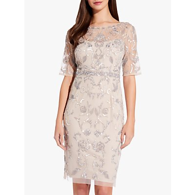 Adrianna Papell Embellished Overlay Dress, Natural