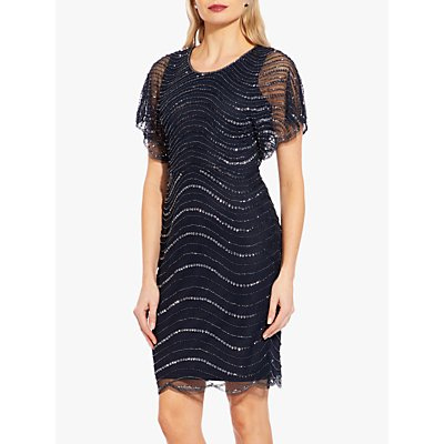 Adrianna Papell Scallop Edge Beaded Dress, Midnight