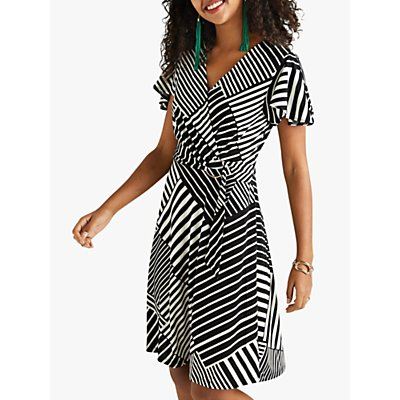 Yumi Tie Wrap Striped Dress, Black
