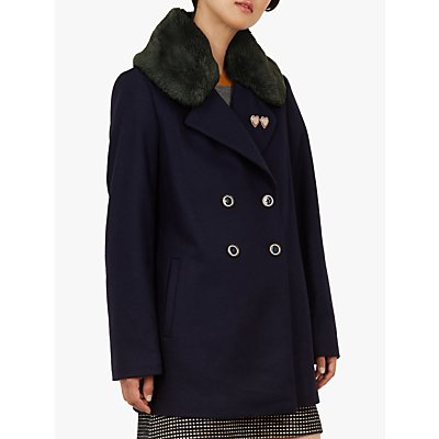 Ted Baker Gaita Faux Fur Collar Pea Coat, Navy
