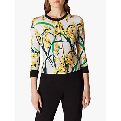 Karen Millen Floral Contrast Trim Cardigan Multi
