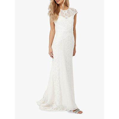 Monsoon Meghan Geo Lace Maxi Wedding Dress, Ivory