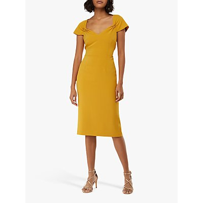 Monsoon Sabrina Cap Sleeve Shift Dress, Yellow
