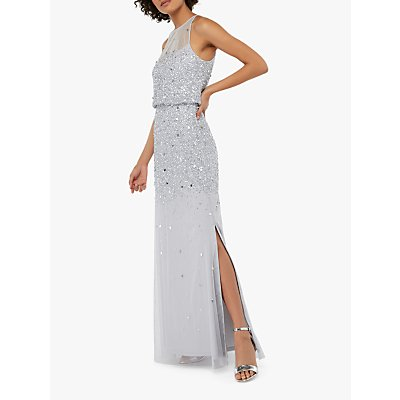 Monsoon Toni Embellished Maxi Dress, Silver