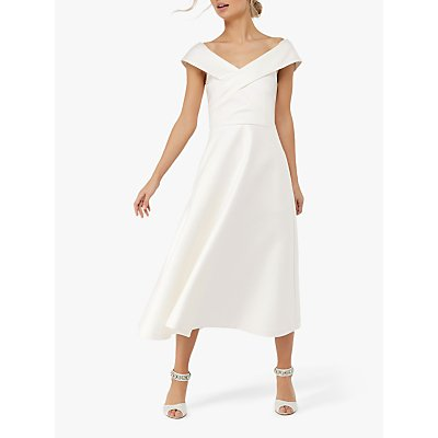 Monsoon Grace Bardot Midi Wedding Dress, Ivory