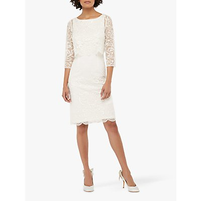 Monsoon Camilla Embellished Short Pencil Bridal Dress, Ivory