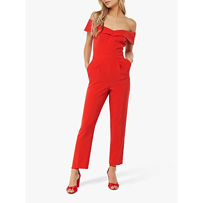 Monsoon Veronica Bardot Jumpsuit, Red