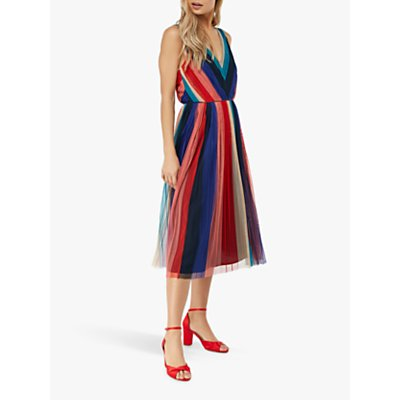 Monsoon Simone Pleated Midi Dress, Multi