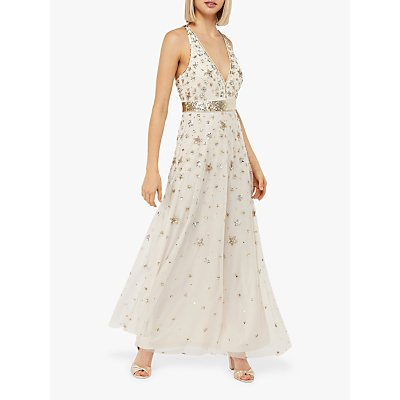 Monsoon Laura Star Embellished Maxi Dress, Nude