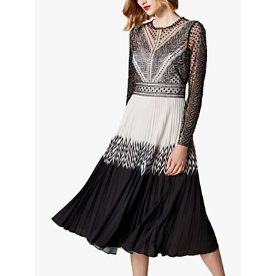 Karen Millen Embroidered Lace Midi Dress, Black/White