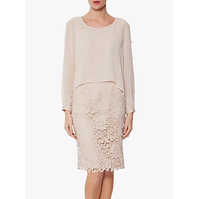 Gina Bacconi Isotta Chiffon Overtop Guipure Lace Dress, Antique Rose