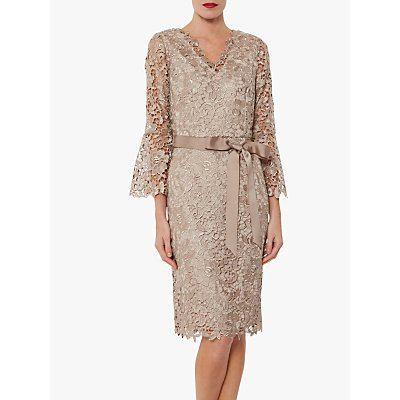 Gina Bacconi Indiana Bell Sleeve Lace Dress, Beige