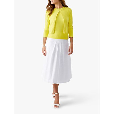 Pure Collection Broderie Pleat Skirt, White