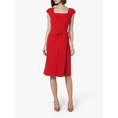L.K.Bennett Denise Pleat Detail Dress, Deep Red