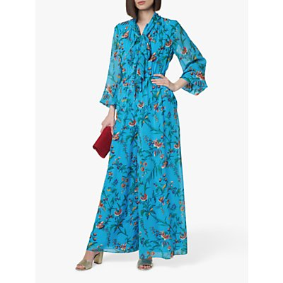 L.K.Bennett Wylie Tie Neck Silk Jumpsuit, Blue/Multi