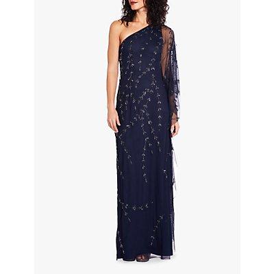 Adrianna Papell Plus One Shoulder Kaftan Maxi Dress, Midnight