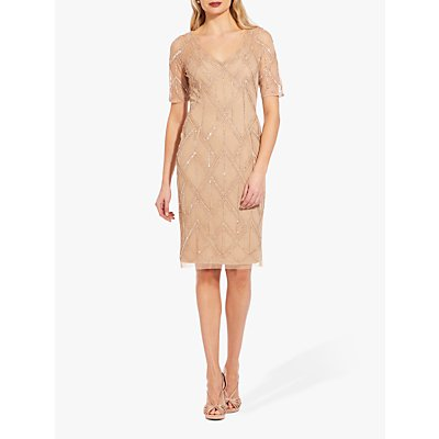 Adrianna Papell Beaded Sheath Dress, Champagne
