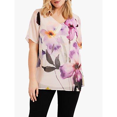 Studio 8 Kerris Floral Print V-Neck Top, Pink/Multi
