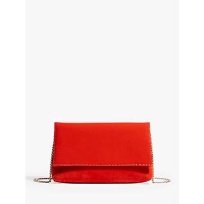 Karen Millen Patent Suede Flap Clutch Bag, Orange
