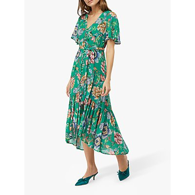 Monsoon Alba Print Tea Dress, Green