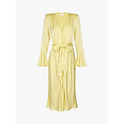 Ghost Annabelle Fluted Sleeve Dress, Lemon