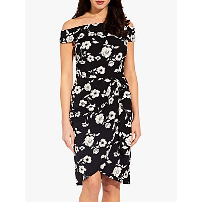 Adrianna Papell Living Blooms Off Shoulder Dress, Black/Ivory