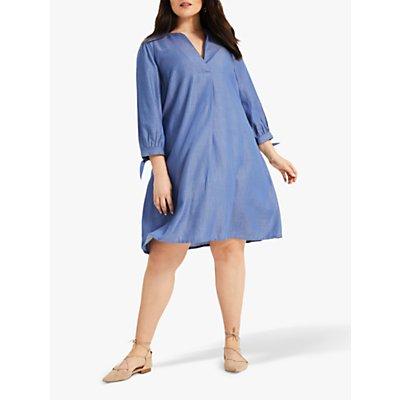 Studio 8 Agatha Tie Sleeve Chambray V-Neck Dress, Blue