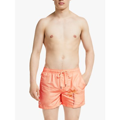 OAS Peached Palm Embroidered Swim Shorts, Peach