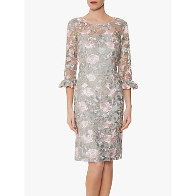 Gina Bacconi Darlene Floral Embroidery Dress, Grey/Pink