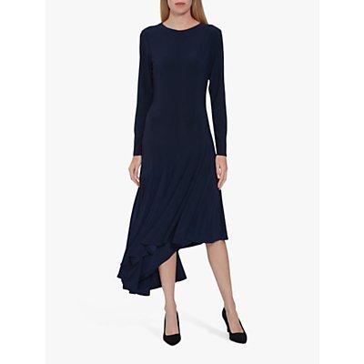Gina Bacconi Kayra Jersey Asymmetric Midi Dress, Midnight
