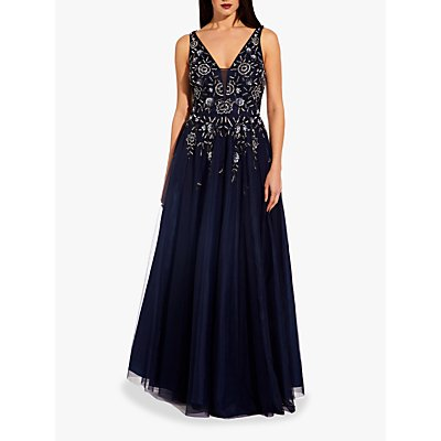 Adrianna Papell Beaded Mesh Maxi Dress, Navy