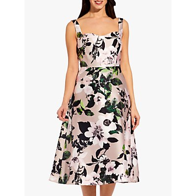 Adrianna Papell Floral Printed Dress, Taupe/Multi