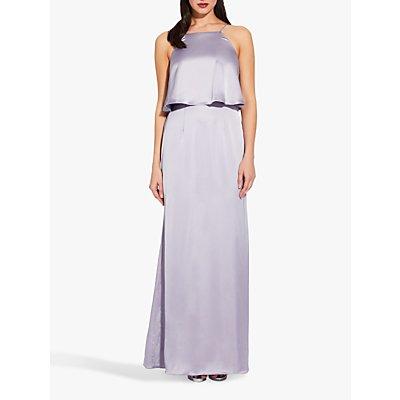 Adrianna Papell Popover Satin Dress, Lilac/Grey
