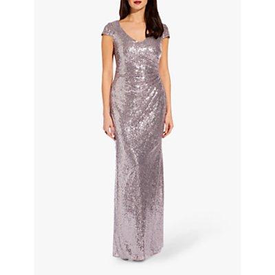 Adrianna Papell Plus Cap Sleeve Sequin Maxi Dress, Lilac Grey