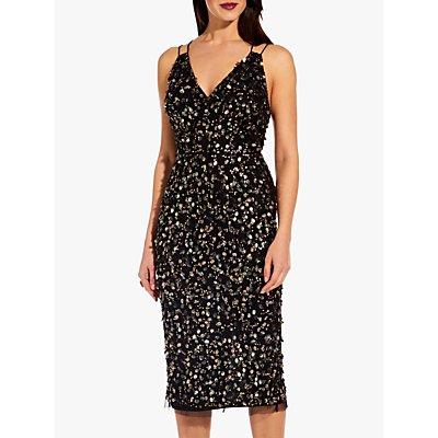 Adrianna Papell Beaded Short Dress, Black/Multi