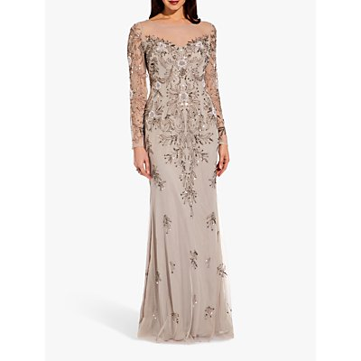 Adrianna Papell Beaded Long Dress, Silver