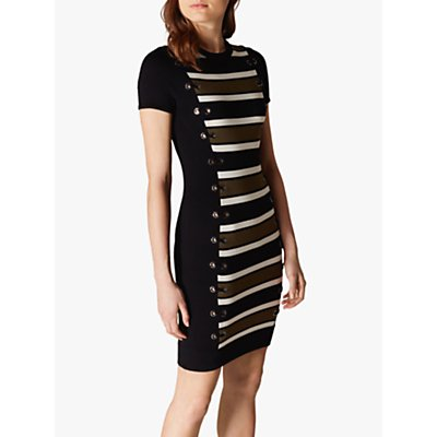 Karen Millen Stripe Bodycon Dress, Black/Multi