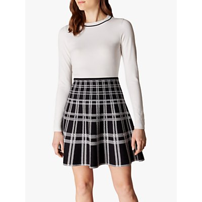 Karen Millen Checked Skirt Dress, Black/White
