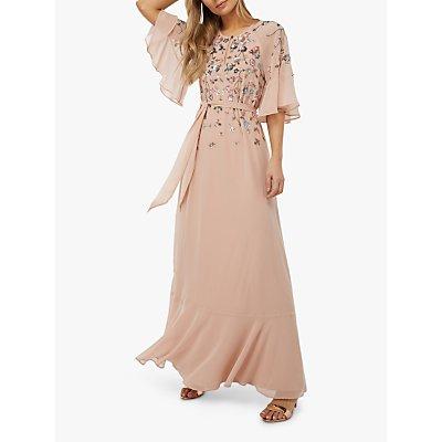 Monsoon Augustina Embellished Kaftan Dress, Blush