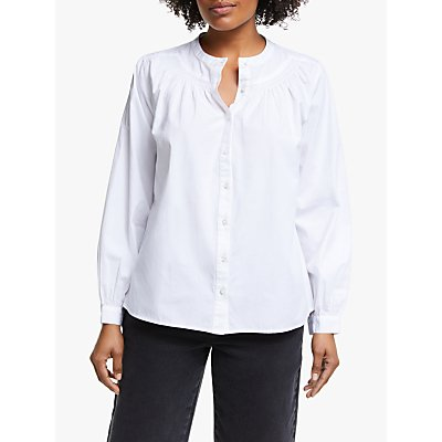 Collection WEEKEND by John Lewis Smocked Cotton Poplin Shirt, White